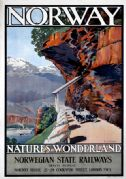 Norway, Nature's Wonderland. Vintage Norwegian State Railways travel poster, by AJ Green